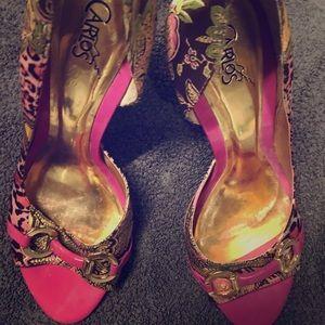 Carlos Santana Pink/cheetah heels
